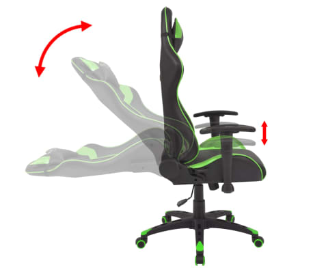 vidaXL Chaise de bureau inclinable Cuir artificiel Vert[3/6]