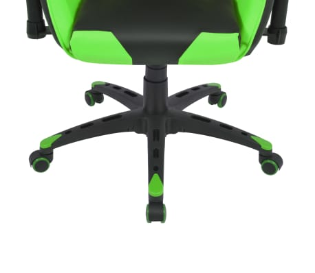 vidaXL Silla de escritorio reclinable Racing de cuero artificial verde[5/6]