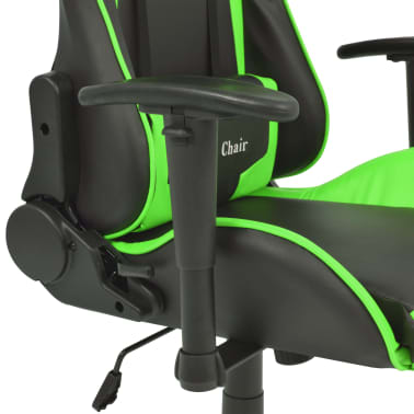 vidaXL Silla de escritorio reclinable Racing de cuero artificial verde[4/6]