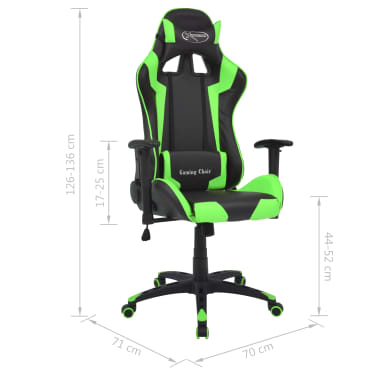 vidaXL Silla de escritorio reclinable Racing de cuero artificial verde[6/6]