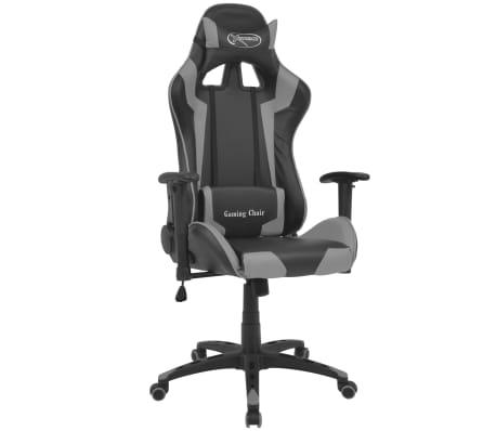 vidaXL Atlošiama biuro/žaidimų kėdė, dirbtinė oda, pilka[1/6]