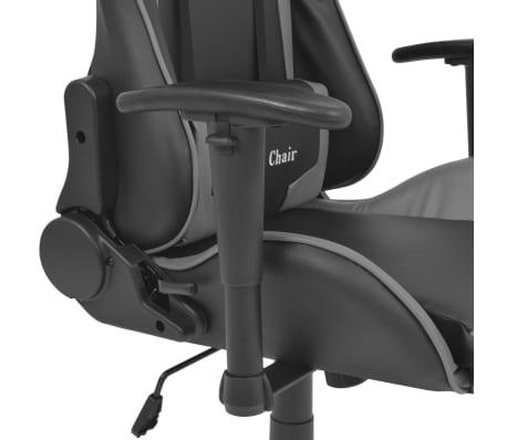 vidaXL Reclining Office Racing Chair Artificial Leather Grey[4/6]