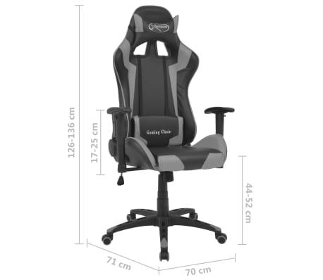 vidaXL Atlošiama biuro/žaidimų kėdė, dirbtinė oda, pilka[6/6]