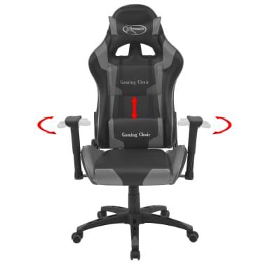 vidaXL Atlošiama biuro/žaidimų kėdė, dirbtinė oda, pilka[2/6]