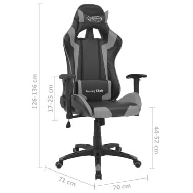 vidaXL Reclining Office Racing Chair Artificial Leather Grey[6/6]