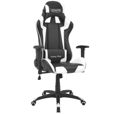 vidaXL Reclining Office Racing Chair Artificial Leather White[1/6]