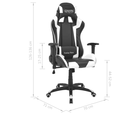 vidaXL Reclining Office Racing Chair Artificial Leather White[6/6]