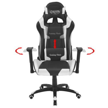 vidaXL Reclining Office Racing Chair Artificial Leather White[2/6]