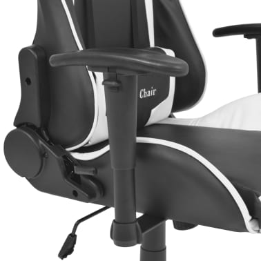 vidaXL Reclining Office Racing Chair Artificial Leather White[4/6]