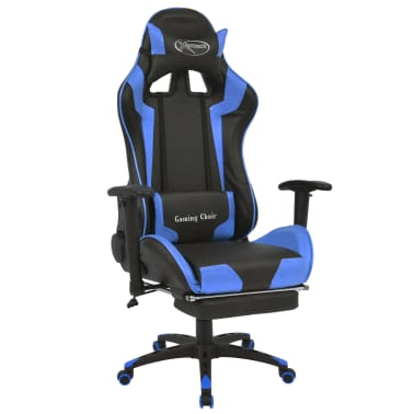 vidaXL Reclining Office Racing Chair with Footrest Blue[1/7]