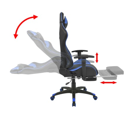 vidaXL Reclining Office Racing Chair with Footrest Blue[3/7]