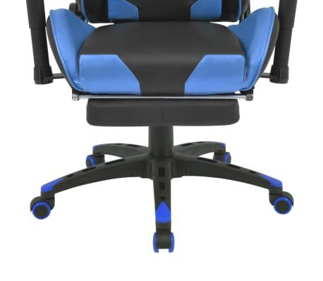 vidaXL Rozkładane krzesło biurowe z podnóżkiem, niebieskie[5/7]