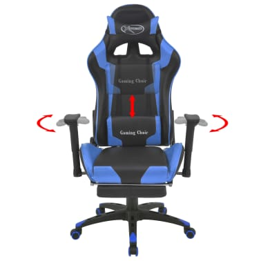 vidaXL Reclining Office Racing Chair with Footrest Blue[2/7]