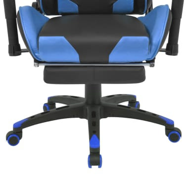 vidaXL Reclining Office Racing Chair with Footrest Blue[5/7]
