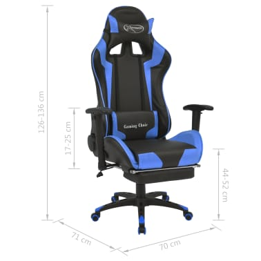 vidaXL Reclining Office Racing Chair with Footrest Blue[7/7]