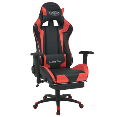 vidaXL Reclining Office Racing Chair with Footrest Red[1/7]