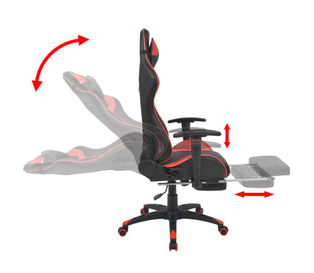 vidaXL Reclining Office Racing Chair with Footrest Red[3/7]