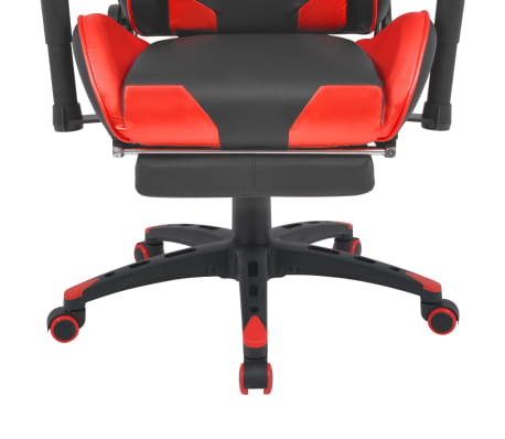 vidaXL Reclining Office Racing Chair with Footrest Red[5/7]