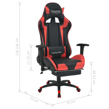 vidaXL Reclining Office Racing Chair with Footrest Red[7/7]