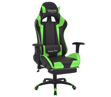 vidaXL Reclining Office Racing Chair with Footrest Green[1/7]