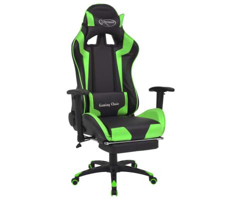 vidaXL Atlošiama biuro/žaidimų kėdė su atrama kojoms, žalia[1/7]