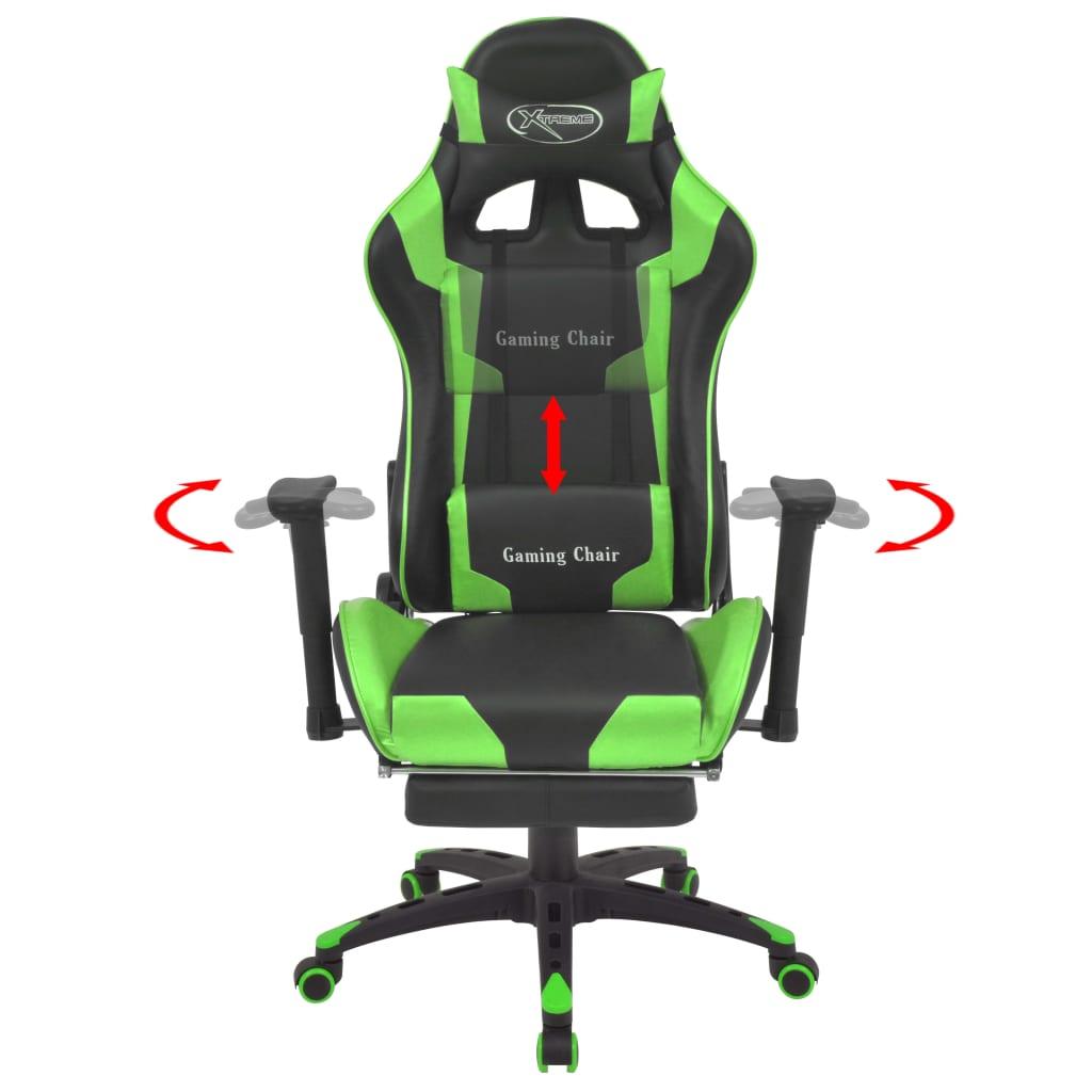 Polohovatelné kancelářské / herní křeslo s podnožkou, zelená