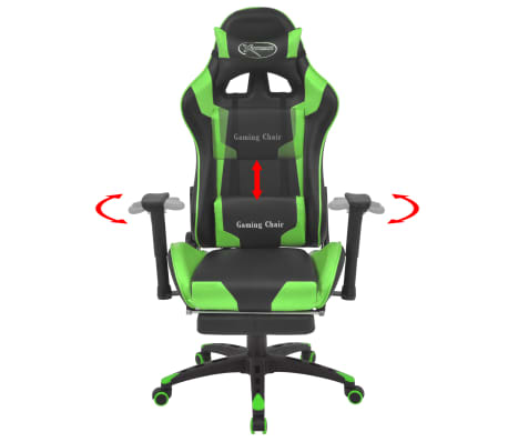 vidaXL Reclining Office Racing Chair with Footrest Green[2/7]
