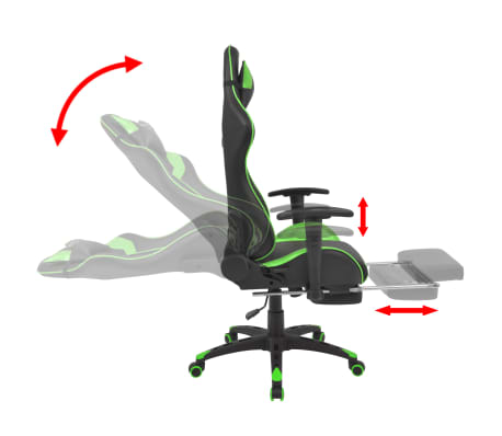 vidaXL Reclining Office Racing Chair with Footrest Green[3/7]