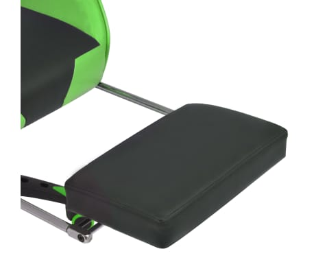 vidaXL Atlošiama biuro/žaidimų kėdė su atrama kojoms, žalia[6/7]