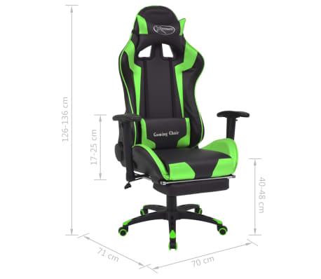 vidaXL Atlošiama biuro/žaidimų kėdė su atrama kojoms, žalia[7/7]