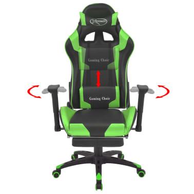 vidaXL Atlošiama biuro/žaidimų kėdė su atrama kojoms, žalia[2/7]