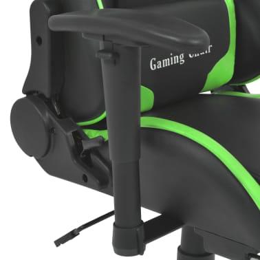 vidaXL Atlošiama biuro/žaidimų kėdė su atrama kojoms, žalia[4/7]