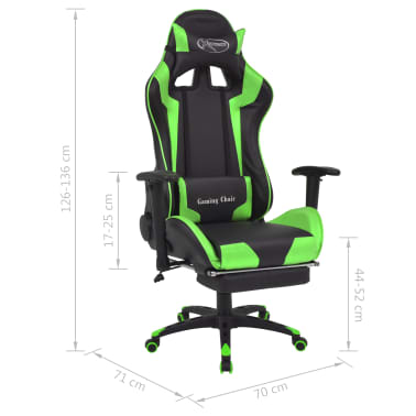 vidaXL Reclining Office Racing Chair with Footrest Green[7/7]