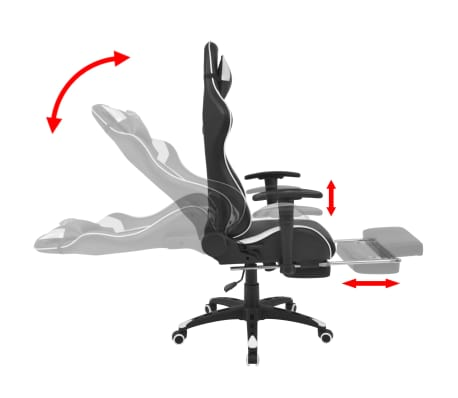vidaXL Chaise de bureau inclinable avec repose-pied Blanc[3/7]
