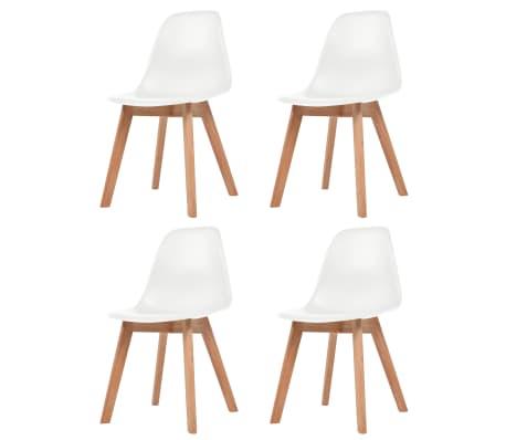 vidaXL Трапезни столове, 4 бр, бели, пластмаса