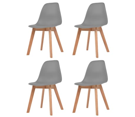 vidaXL Dining Chairs 4 pcs Grey Plastic