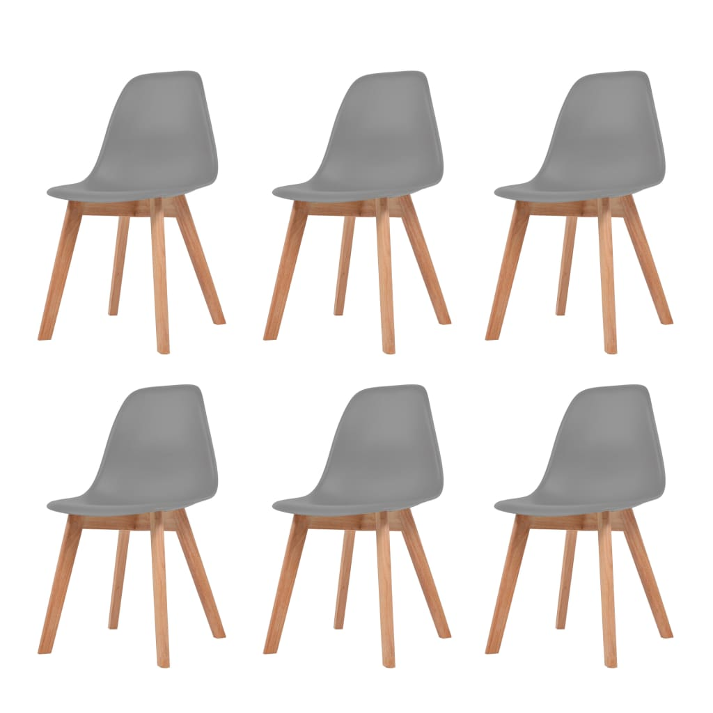 vidaXL Καρέκλες Τραπεζαρίας 6 τεμ. Γκρι Πλαστικές