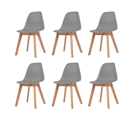 vidaXL Esszimmerstühle 6 Stk. Grau Kunststoff