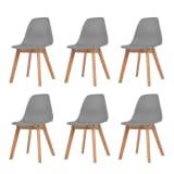 vidaXL Valgomojo kėdės, 6vnt., pilkos spalvos