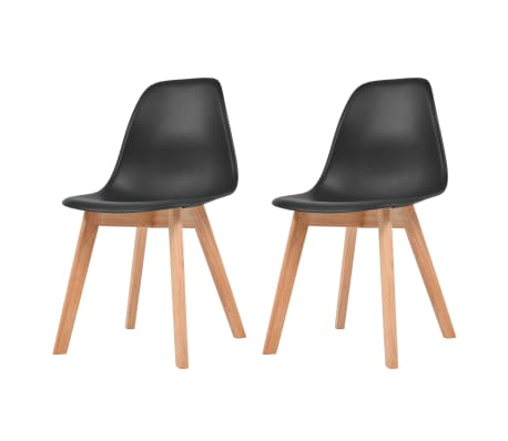 vidaXL Dining Chairs 2 pcs Black Plastic