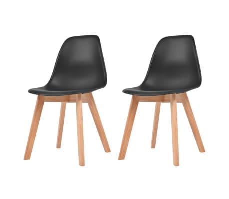 vidaXL Трапезни столове, 2 бр, черни, пластмаса