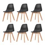 vidaXL Valgomojo kėdės, 6 vnt., juodos spalvos