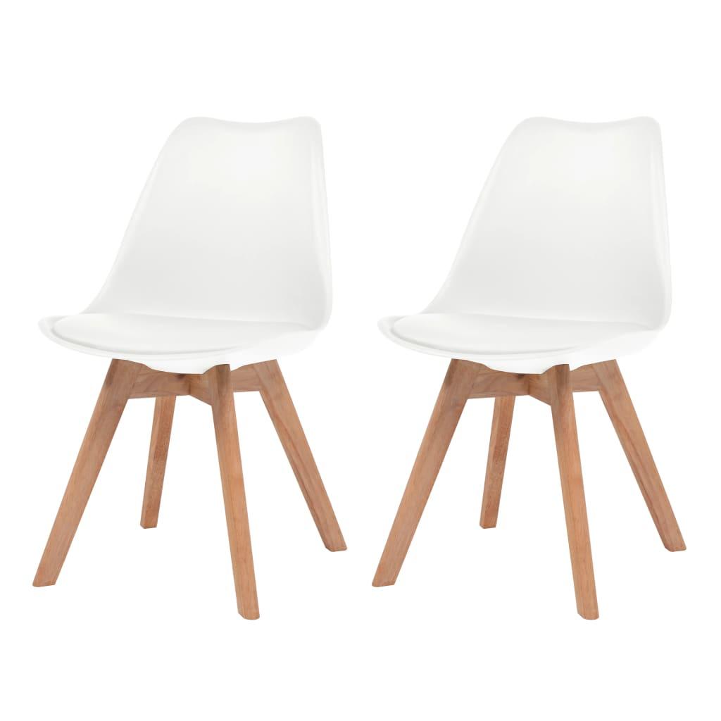 vidaXL Καρέκλες Τραπεζαρίας 2 τεμ. Λευκές Συνθετικό Δέρμα & Μασίφ Ξύλο