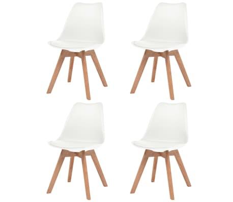 vidaXL Трапезни столове, 4 бр, бели, изкуствена кожа