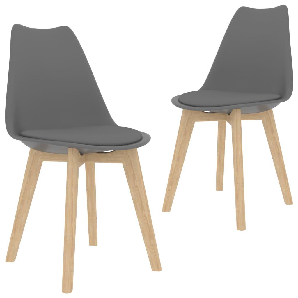 vidaXL Καρέκλες Τραπεζαρίας 2 τεμ. Γκρι Συνθετικό Δέρμα & Μασίφ Ξύλο