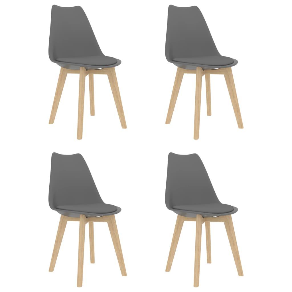 vidaXL Καρέκλες Τραπεζαρίας 4 τεμ. Γκρι Συνθετικό Δέρμα & Μασίφ Ξύλο