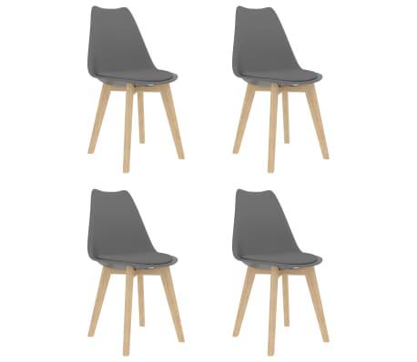 vidaXL Valgomojo kėdės, 4 vnt., pilkos spalvos, dirbtinė oda