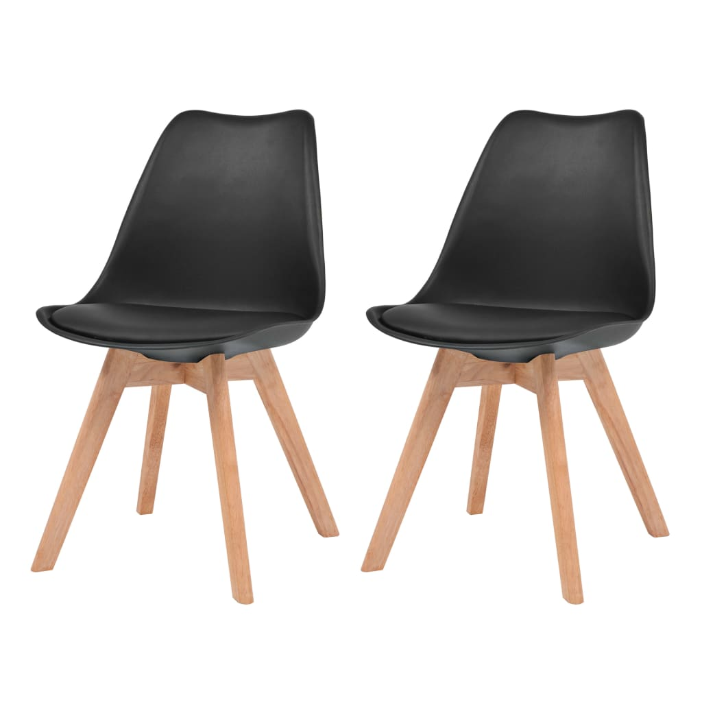 vidaXL Καρέκλες Τραπεζαρίας 2 τεμ. Μαύρες Συνθετικό Δέρμα & Μασίφ Ξύλο