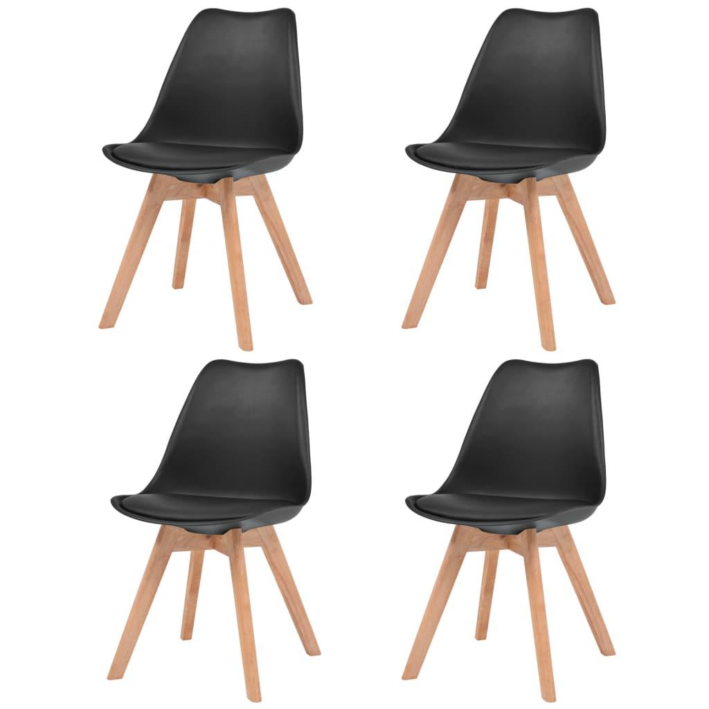vidaXL Καρέκλες Τραπεζαρίας 4 τεμ. Μαύρες από Συνθετικό Δέρμα