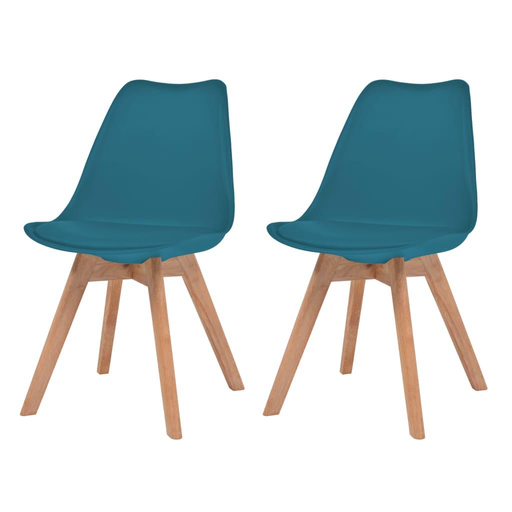 vidaXL Καρέκλες Τραπεζαρίας 2 τεμ. Τιρκουάζ Δερματίνη και Μασίφ Ξύλο